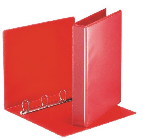 Esselte - Esselte Essentials - 49713 - Classeur à anneaux personnalisable - A4 - Capacité de 280 feuilles - Carton recouvert de polypropylène - 4 anneaux - Rouge