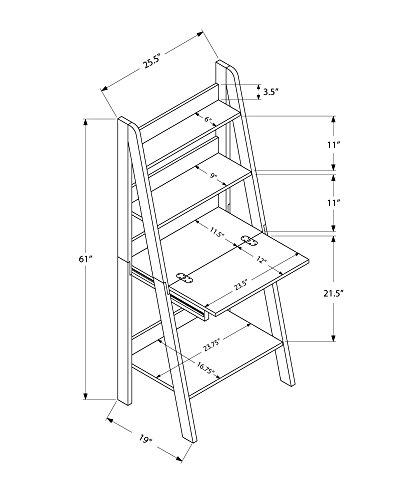 Monarch Specialties Ladder Desk-Bookcase-Wall Bookshelf-Stand Shelf, 61