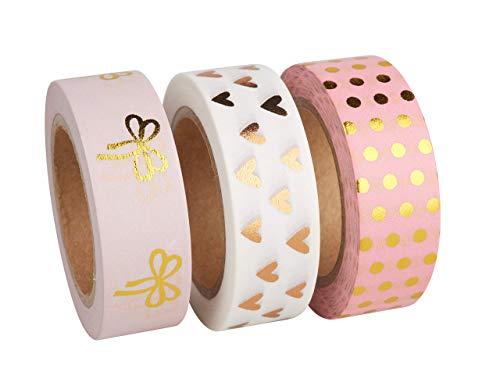 Rayher 60893000 Washi Tape Set Gold/Rose Foil, 3 Designs á 10m