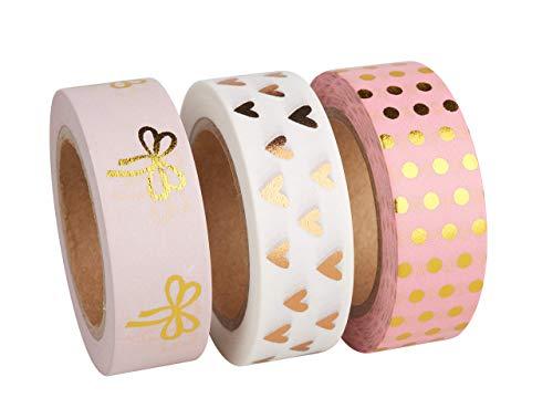 Rayher 60893000 Washi Tape Set, 3 Rollen á 10 m, 15 mm breit, 3 Designs rosé/gold/weiß gemustert, Papierfolie, Papierband, Klebeband, Dekoband
