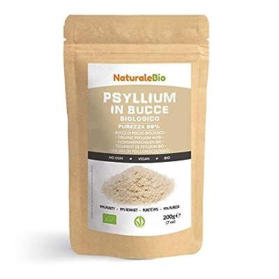 Organic Psyllium Husk [99% Purity] 200g. 100% Pure & Natural Psyllium Seed Husks, Produced in India. High in Fibre, to be Mixed with Water, Beverages, Juices, Vegetarian & Vegan. NaturaleBio