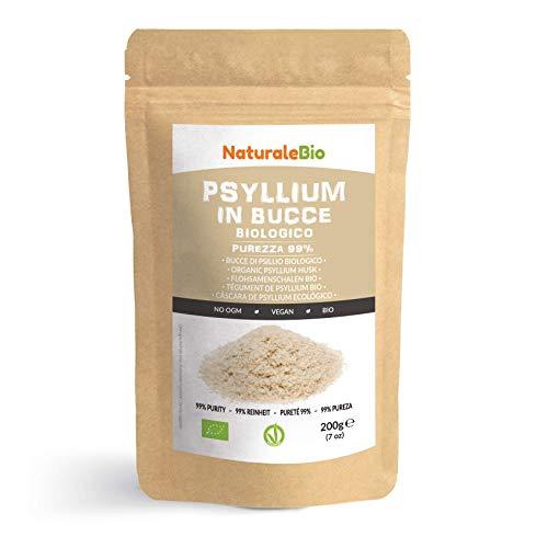 Cáscara de Psyllium Ecológico [99% Pureza] 200g. Psyllium Husk, Natural y Puro. 100% cutícula de semillas de Psilio Orgánico, producido en India. Rico en Fibra, para añadir al Agua, Bebidas y Zumos.