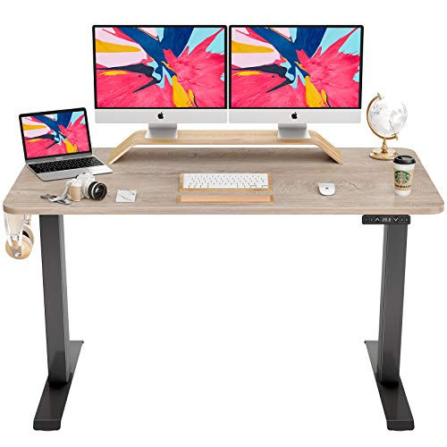 FAMISKY Dual Motor Adjustable Height Electric Standing Desk, 55 x 24 Inches Stand Up Home Office Desk with Splice Tabletop, Black Frame/Greige Top