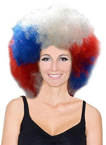 Générique Pe506 - Perruque Big Afro Tricolore - Taille Unique France coupe du monde