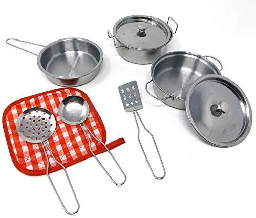 Brigamo Metall Kochgeschirr Set Kinderküche Geschirr Metall, Spielküche Zubehör 9 teilig