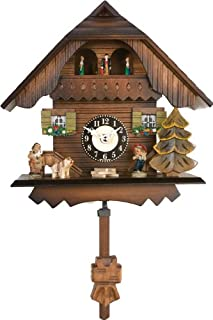 River City Clocks Quartz Cuckoo Clock - Painted Chalet with Dancers - Wesminster Chime or Cuckoo Sound - 7 Inches Tall - Model # 83-07QPT