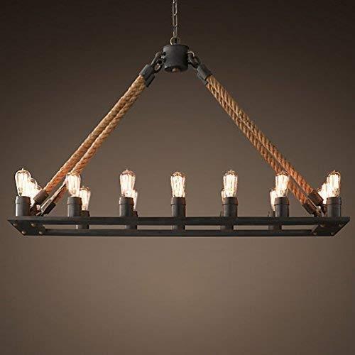 * Eenvoudige kandelaar van hennep met kaars kroonluchter (zonder lamp) zwarte houder met 16 lampen [energieklasse A]
