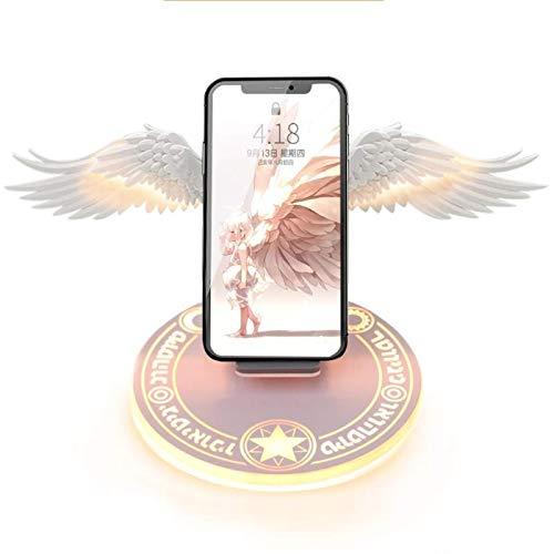 Cargador inalámbrico de alas de ángel de diseño creativo, compatible con la estación de carga inalámbrica QI, adecuado para iPhone, Huawei, soporte para teléfono móvil de carga inalámbrica Samsung