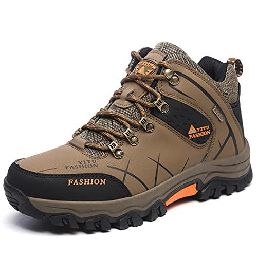huasa Botas de Senderismo Hombre,Escalada Aire Libre Calzado Impermeable Ligero Antideslizantes Sneakers,Zapatillas Altas de Trekking Zapatos de Montaña,Brown-42