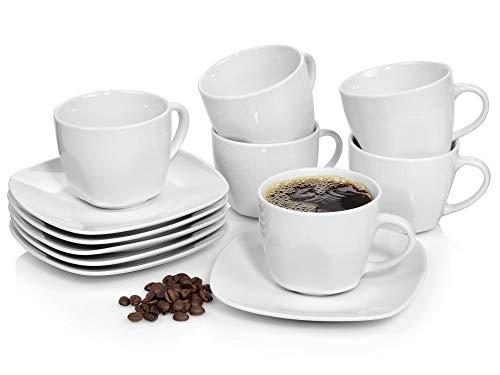Sänger Kaffeetassen Set'Bilgola' aus Porzellan 6er Set | Bestehend aus Tassen und Untertassen | Füllmenge 175 ml | Perfekt aufeinander abgestimmtes Set