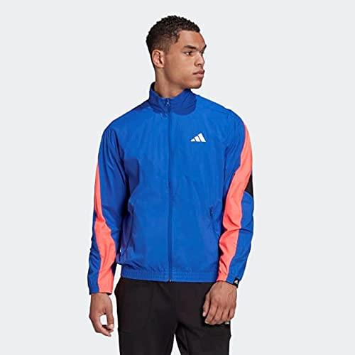adidas mens Woven Tape Track Jacket Royal Blue/Pink/Black Small