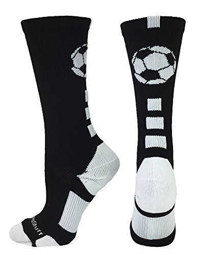 MadSportsStuff Soccer Ball Crew Socks (Black/White, Small)