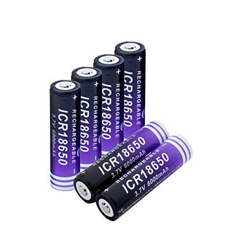 MeGgyc 3.7 V ICR 18650 6000 mAh Li-ion li ion baterías de litio recargable para modelo aéreo portátil emergencia luz radio 6 piezas