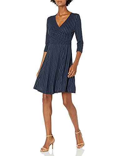 Lark & Ro Women's Three Quarter Sleeve Faux Wrap Fit and Flare Dress, Navy White Pinstripe, Large