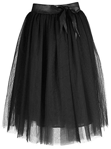 Feoya - Falda Midi Tul de Mujer Cintura Elástica con Lazo para Fiesta Danza Casual - Negro - EU Talla 42-44