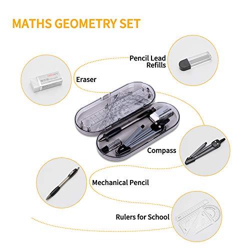 8 piezas Set de Geometría,Compas de Dibujo Maths Kit para Escuela,Juego de compás Set con Cuadrados y Brújula,Transportador,Regla,Portaminas,Recargas de Lápiz,Borrador para Estudiantes y Profesores