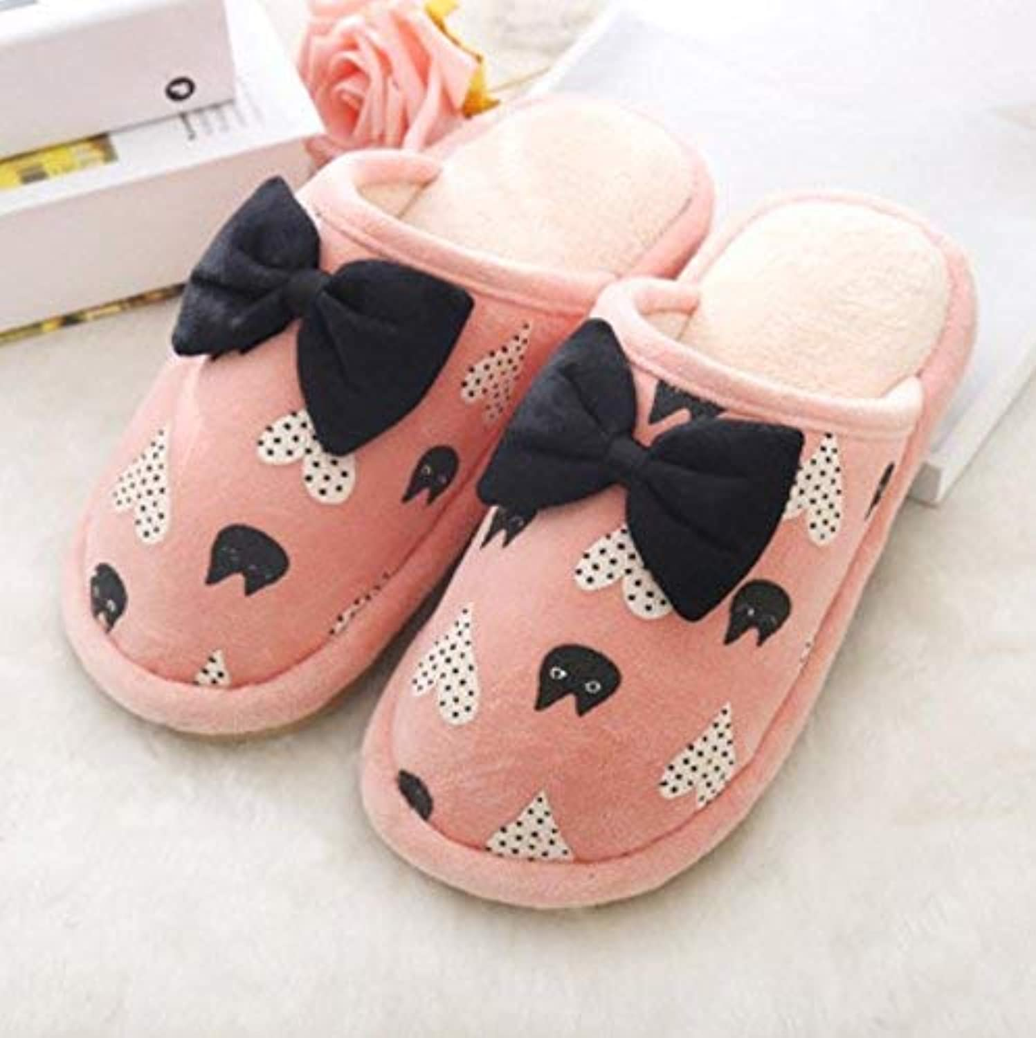 Lady Slippers Women's Home Slippers Indoor Non-Slip Warm Cotton Bow Decoration Cartoon Anti-Skip Leisure Comfortable Soft Casual Slippers