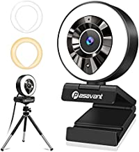 1080P AutoFocus Webcam with Microphone, Ring Light and Tripod, Pasavant HD Streaming Webcam USB Plug and Play Web Camera for PC Desktop Laptop MAC, Video Conferencing, Online Courses, YouTube, Skype