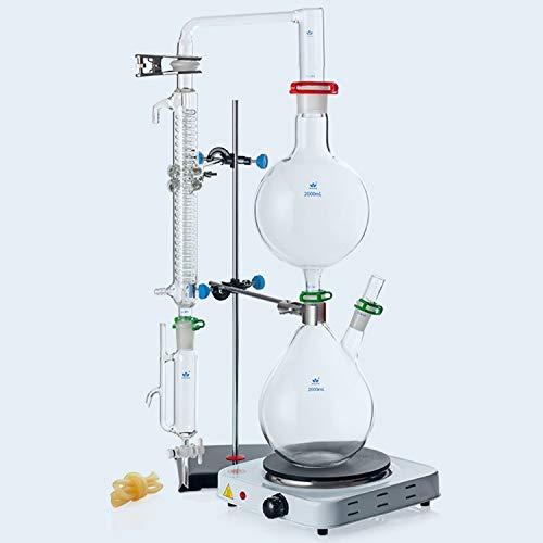 NMVB Aparato de destilación del destilador, Aparatos de extracción de aceites Esenciales de 2000 ml, Kit de Cristal de Cristal de destilación de Vapor de Vidrio con Estufa Caliente Graham Condensador