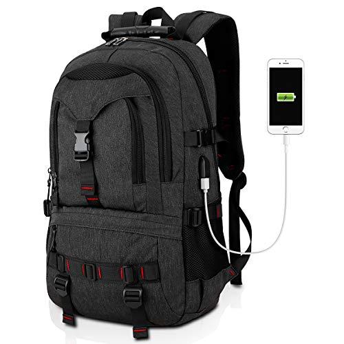 Tocode Large Laptop Computer Backpack 17 Inch Travel Backpack Water Resistant School Bag Business Bag Men Daypack with USB Charging Port (Black Update)
