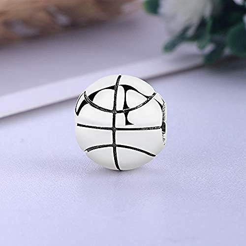 Charm Anhänger,Basketball Ball Liebe Sport 925 Sterling Silber Feine Anhänger Armband Schmuck Machen Mädchen Teenager Diy Best Gift Fit Original Charm