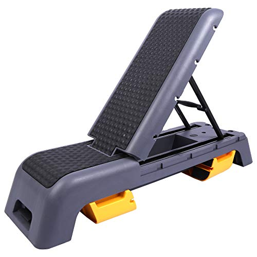 Domaker Multifunctional Aerobic Deck with Cord Workout Platform,Versatile Fitness Station,Weight Bench,Stepper,Plyometrics Box for Cardio Workouts and Strength Training