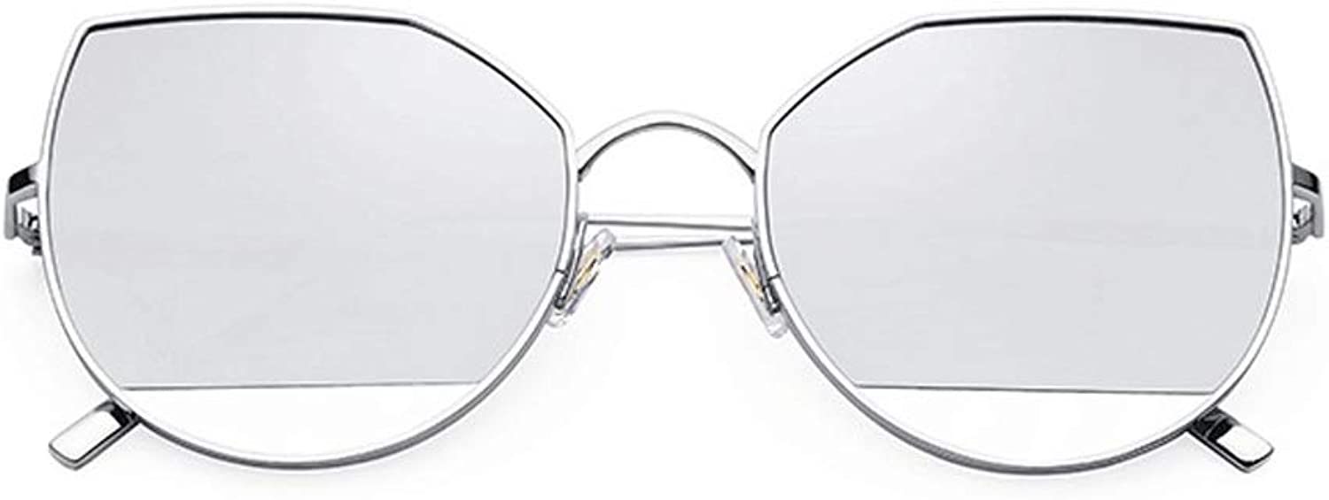 Cat Eye Mirrored Flat Lenses Metal Frame Women Sunglasses with Package Box UV 400 Lens Predection Traveling&Daily(Multiple Colour) (color   Silver Silver, Size   Free Size)