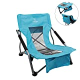 Hitorhike Low Sling Beach Camping Concert Folding Chair with Armrests and Breathable Nylon Mesh Back Compact and Sturdy Hunting Chair (Blue)