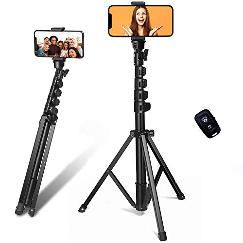 Phone Tripod, SOSIROLO 62 Extendable Selfie Stick Tripod for iPhone, Cell Phone Tripod Stand with Phone Holder, Wireless Remote Shutter, Compatible with iPhone, Android (Black)