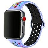 SSEIHI Bracelet Compatible Apple Watch 42mm 44mm,Bracelet de Remplacement en Silicone Souple et Respirant pour Bracelet pour iWatch Series 6/5/4/3/2/1/SE,Sport,M/L,Royal Pulse Color