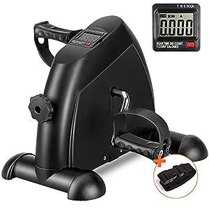DECELI Under Desk Bike Pedal Exerciser – Portable Mini Exercise Bike for Arm/Leg Exercise, Mini Exercise Peddler with LCD Display(Black)