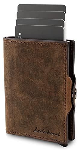 Lederhand® Swipe Vintage – Premium Wildleder Geldbörse handgemacht für Herren und Damen Portemonnaie Aluminium Kartenhalter mit Münzfach und Platz für 11 Karten mit RFID NFC Schutz - Geschenk |(Braun)
