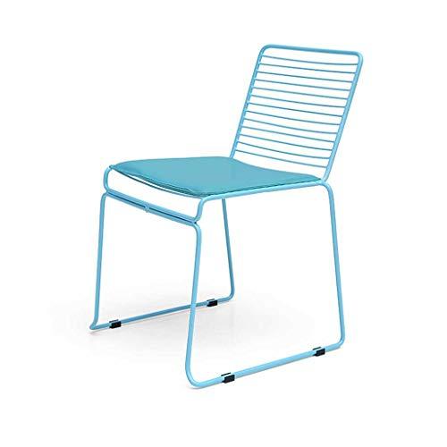 LINGZHIGAN Chaise Chaise de bureau arrière simple Chaise moderne simple Chaise de salle à manger en fer (Couleur : Bleu)