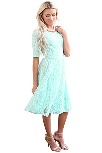 Mikarose Meadow Modest Dress In Light Turquoise Mint Blue Lace