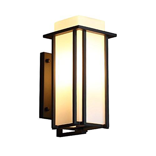 Flashing wandlamp van smeedijzer, waterdicht buiten, deksel van melkglas, E27, voor buiten, terras, balkon, deuren, gevels, terras, patio
