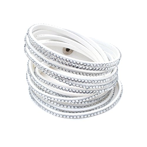 Barzel Leather Created Austrian Crystals Wrap Bracelets (White with White Stones)