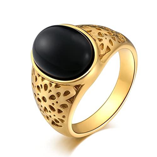 Socoz Anillos de acero para hombre, ovalados, vacíos ovalados, color negro, anillos para hombre, plata o boda