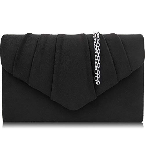 Milisente Women Evening Bag Velvet Pleated Clutch Purse Envelope Clutches (Black)