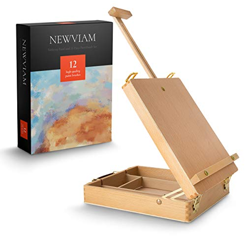 Newviam Tabletop Art Easel and Paint Brush Set, Portable Table Top Artist Desktop Easel with Adjustable Pop-Up Support, Wooden Storage Box for Drawing, Painting, Sketching on Paper or Canvas