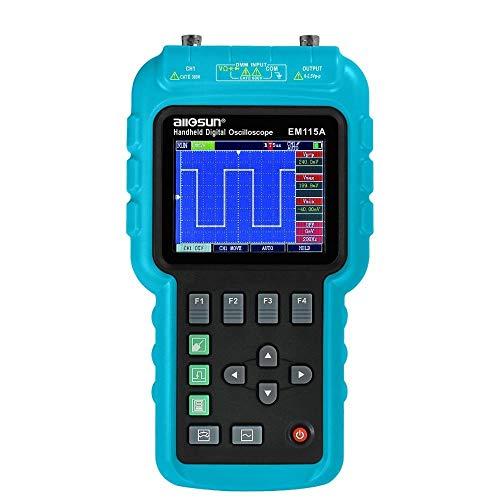 NO BRAND Osciloscopio Digital Oscillogrape de Mano 3 en 1 Pantalla LCD portátil multímetro osciloscopio Digital + + generador de señal de Color 50MHZ (Color : Azul, tamaño : Un tamaño)