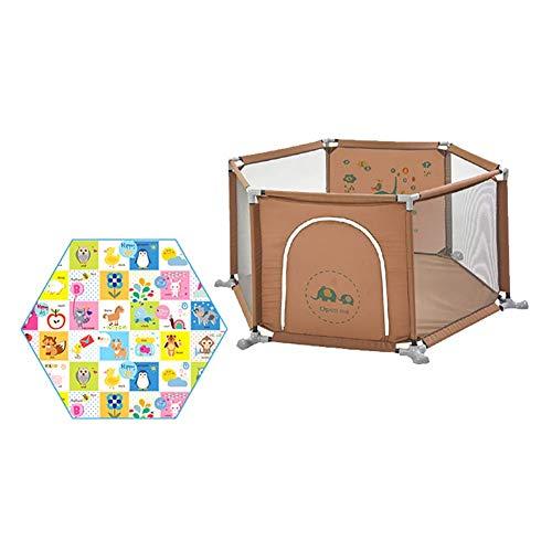 LY88 Veiligheid Peuters Playpen met Zeshoek Matras, Anti-rollover Spelen op de Go Playard, 67cm Extra Tall Anti-botsing Baby Room Divider, voor Jongens en Meisjes