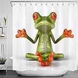 LB Yoga-Frosch Duschvorhang Zen-Tier Polyester Stoff Lang Bad Gardinen Wasserdicht Anti Schimmel Badezimmer Deko Heimzubehör mit Vorhanghaken,180X180cm
