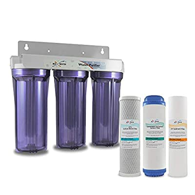"""Max Water Whole House Water Filter, 3 Stage Home Water Filtration System, w/ 10"""" x 2.5"""" Sediment, GAC, CTO Carbon Water Filters (Chlorine, Taste, and Odor) 3/4"""" Ports, Good for City Water"""