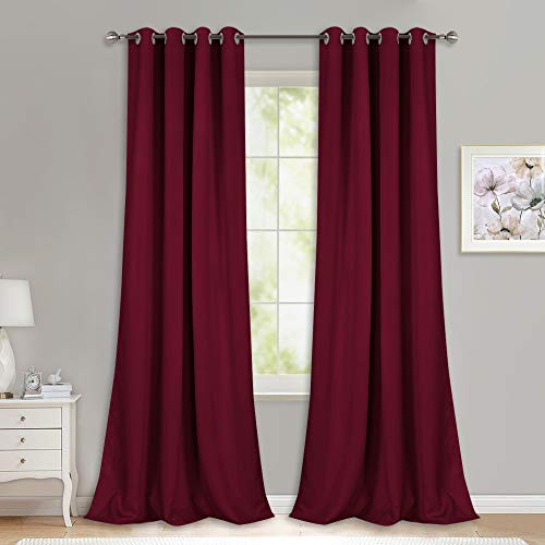 NICETOWN Extra Long Blackout Drapes - (52 inches by 120 inches, Burgundy Red, Set of 2) Window Treatment Light Blocking Privacy Curtain Panels for Home Decoration