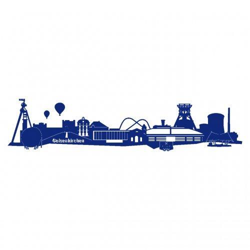 plot4u Wandtattoo Gelsenkirchen Skyline Schalke in 6 Größen und 19 Farben (70x15,6cm königsblau)