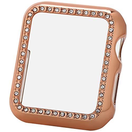 Greaciary Sparkle Kompatibel mit Apple Watch 44 mm, kompatibel mit iWatch Face Bling Kristall Diamant Platte Abdeckung Schutzrahmen für Apple Watch 5/4 Damen (Doppel-Strasssteine, Roségold, 44 mm)