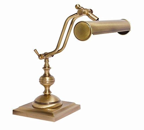 Tischleuchte Antik Bronze Echt-Messing Verstellbar E14 Handarbeit Premium Schreibtischlampe Tischlampe Klavier