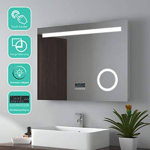 EMKE Miroir de Salle de Bains LED Miroir Avec Interrupteur Tactile+Miroir Cosmétique Illuminé+Haut-parleur Bluetooth 4.1,IP44,21W,Blanc Froid(80x60cm)
