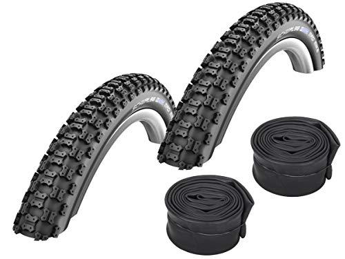 Set di 2 pneumatici Schwalbe Mad Mike BMX, 20 x 2.125/57-406 + tubi Conti, valvola Dunlop
