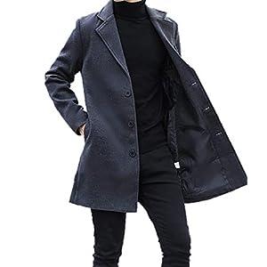 BLACK MOTEL コート メンズ チェスターコート ロング ジャケット 秋 冬 春 ウール 薄手 アウター ビジネス 紳士服 (ダークグレー, L(日本サイズM))